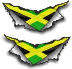 XLARGE Pair Triangular Ripped Torn Metal & Jamaica Jamaican Flag Motif Vinyl Car Sticker 300x140mm